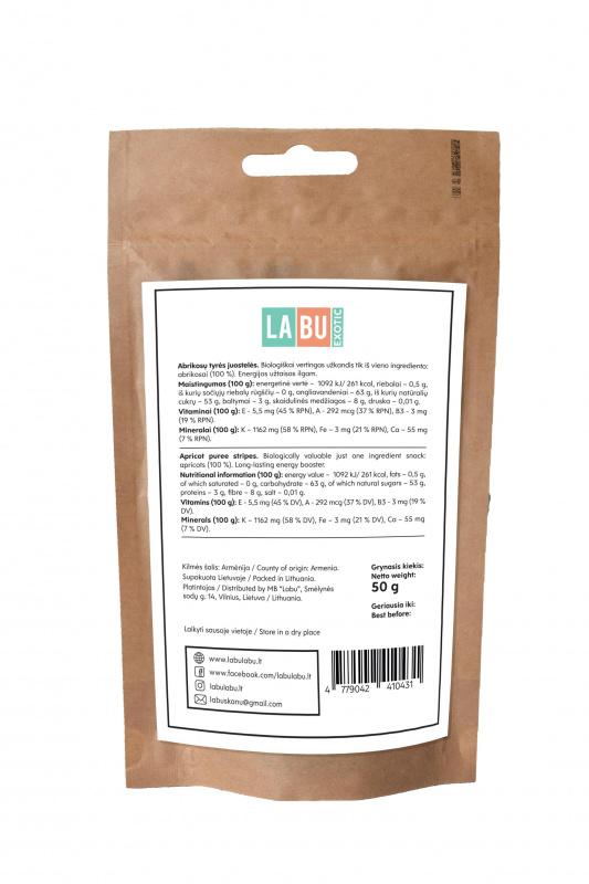 LABU EXOTIC Abrikosų tyrės juostelės, 50 g